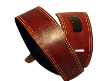 Leather Guitar Strap - Oxblood Red with etched border