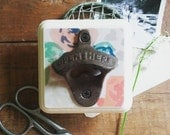 Wall Mount Bottle Opener, Shabby Chic Beer Opener, Rustic Floral Bar Accessories, Unique Hostess or Bridesmaid Gift Idea