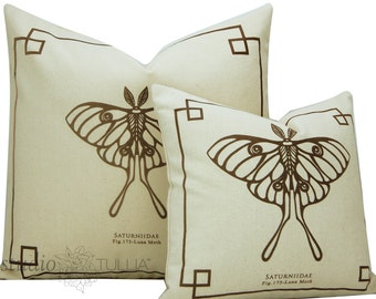 Silkscreen Pillow - Natural and Safari Brown - The Bug Chicks Collection - Luna Moth pillow  - Two sizes available - ready to ship