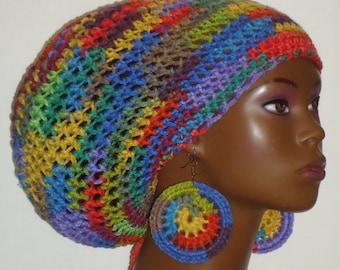 Color Explosion Crochet Large Rasta Hat Tam Cap with Drawstring and Earrings by Razonda Lee Razondalee Locs Dreadlocks