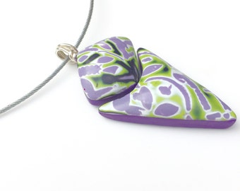 Purple and green polymer clay pendant