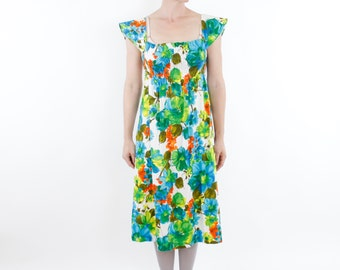Vintage 60's Sunbabies brand Hawaiian dress, watercolor style floral pattern, elastic ruched bodice, cap sleeves, A-line skirt - Small