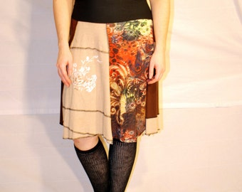 Recycled tee shirt skirt  plus size with yoga pant style waistband P0094