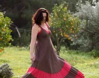 Long Brown and Red Linen Dress / Chocolate Brown / Maxi / Summer Dress / Pure Linen / Crinkled Linen / Boho Beach Dress / Hand Made