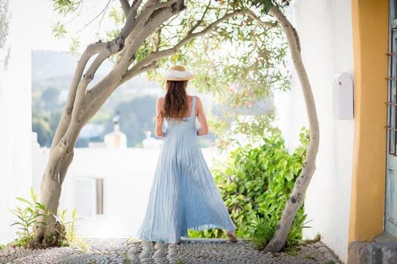 Pure Crinkled Linen Dress in Vintage Blue