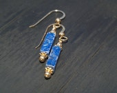 Lapis and 14K Gold Filled Dangle Earrings