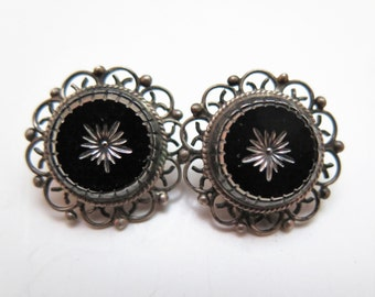 Vintage  MEXICO 925 Silver Clip=On Earrings Onyx Center Signed JTC