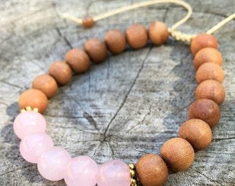 BLISS- Rose Quartz and Sandalwood Wrist Mala Bracelet.