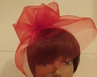 Vintage Red Fascinator Veil Headband