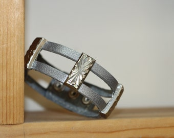 Metallic Gray  Genuine Leather  Bracelet