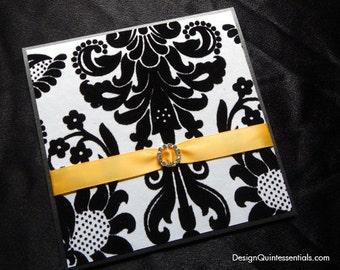 Damask Pattern Embossed Wedding Invitation in Folded Pocket