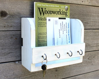 Mail Organizer, Rustic Home Decor, Entryway Organizer, Key Holder, Mudroom Hooks, Dog Leash Holder