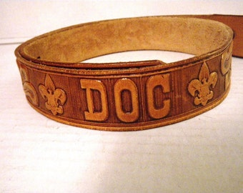 "Boy Scout Tooled Leather Snap Belt 32 ""DOC"""