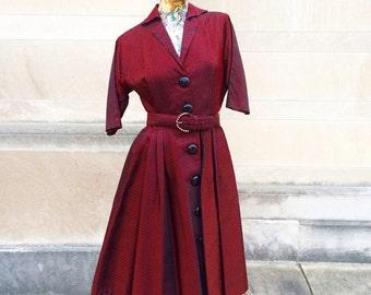 50s Vintage Red and Black Pinstripe Dress  small medium