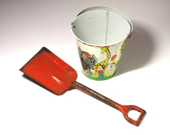 Vintage Red Toy Sand Shovel - circa 1940's