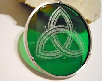 Green Stained Glass Trinity Suncatcher