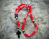 Lego Rosary - The Original Catholic Lego Rosary - Red and Black Catholic Rosary  (The Benedictine)