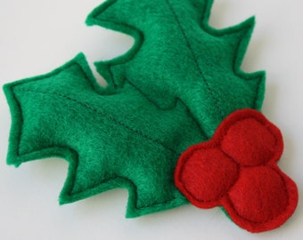 Cat Toy- Jolly Catnip Holly!- Christmas cat gift, holiday gift for cats, holly berries, felt cat toy, handmade cat toy, catnip, cat nip