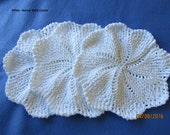 Handmade Knitted Dishcloths - Set of 3  Round White 9 inches in diameter - 100% Cotton