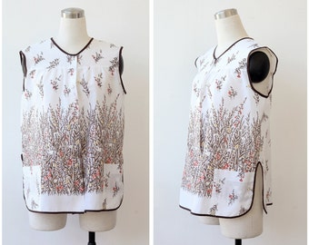 1970s Vintage Floral Tent Blouse, Bottom Front Top, Sleeveless Boho Blouse Apron Top