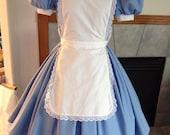 Blue Alice in Wonderland Dress Pinafore Adult Custom Size  Eyelet