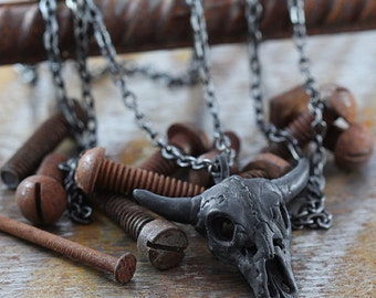 Black Skull Necklace Man Jewelry Rustic Cow Pendant