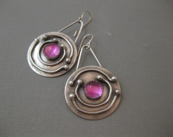 Solar System Earrings Large Round Disk Sterling Silver Pink Sapphire Earrings