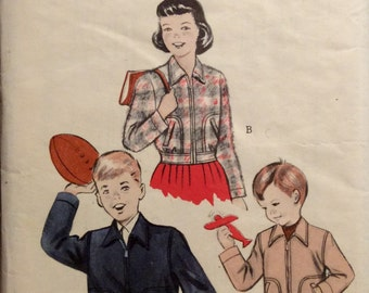 Vintage Sewing Pattern 1950s Girls Boys Short Sports Jacket Size 8 Zipper