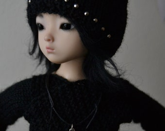 SALE! Hand-knitted wrap top and punky kitty hat for slim mini, elfdoll yumi etc.