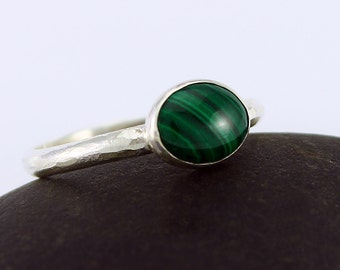 Size 9 1/2 Ring Handcrafted Sterling Silver Narrow Band and Malachite Oval Stone Stackable Contemporary Artisan Jewelry 074661639416