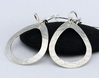 Handcrafted Sterling Silver Drop Earrings Open Textured Teardrop Shape Minimalist Contemporary Artisan Jewelry Design 0021603371216
