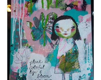Girl Art Print,  Mixed Media art collage, Wall Art quote, Nursery, girl, flower, canvas, home decor, bloom your own way-by Judie Parsons
