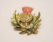 Vintage Scottish thistle brooch. Enamel thistle brooch