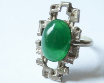 Vintage green glass ring.  Modernist ring.  Adjustable ring
