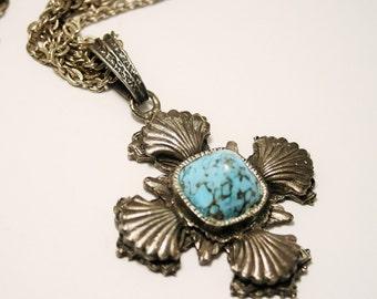 Vintage Celtic cross necklace. Turquoise blue glass pendant. Large cross