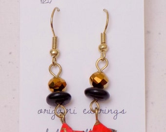Origami Star Earrings in Red, Black and Gold