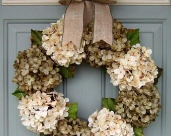 Summer Wreath - Ready to Ship - Summer Hydrangea Wreath - Summer Door Wreath