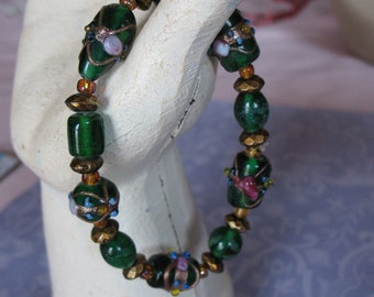 Deep Green and Gold Fancy Beaded Bracelet