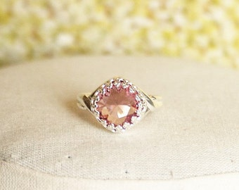 Pink Swarovski Ring Antique Pink Swarovski Pink Ring Pink Crystal Ring Pink Cushion Stone Ring Swarovski Antique Pink Ring