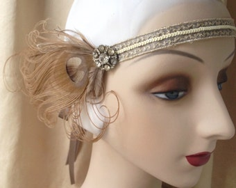 brown taupe cream and silver flapper headband 1920's style headpiece with vintage rhinestones, and brown feathers - made to order