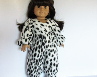 Leopard Fleece Footies Pajamas PJ's Made to fit Dolls Like Gotz or American Girl -  Doll Clothes 18""