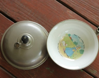 Vintage Porridge Meal Warmer Children Baby Bowl Mary Had  A Little Lamb Metal Ceramic Food Dish with Lid