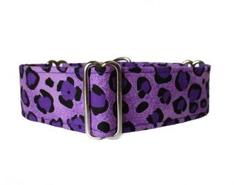 Purple Martingale Collar, 1.5 Inch Martingale Collars, Leopard Martingale Dog Collar, Purple and Black, Purple Dog Collar