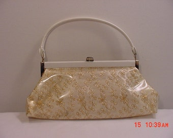 Vintage Clear Vinyl Purse With Pretty Gold Pattern On Front & Vintage Memorbilia Inside  16 - 30