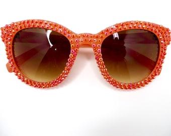 Tequila Sunrise- Orange Round Sunglasses Covered In Orange Iridescent Jelly Rhinestones