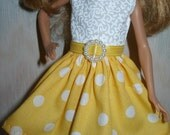 """Handmade 9"""" little sister fashion doll clothes fit Stacie - yellow and white polka dot dress"""