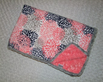 Coral Minky Blanket - Coral Bedding - Coral Gray Blanket - Girl Blanket - Coral Nursery - Coral Navy Bloom Minky Blanket Ships in 1-3 Days