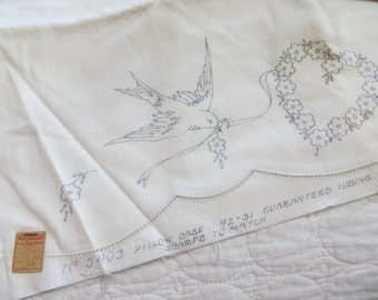 Vintage Bluebird Tubing Pillowcases-Set-Estate-Need embroidered