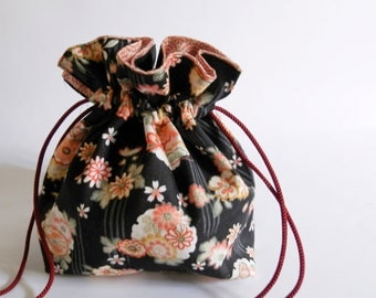 Pinks & Oranges on Black Chirimen. Reversible Japanese Pouch.