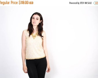 FLASH SALE ends Feb 15th 50s Ivory Sequin Top - Vintage Sequin Tops  - The  Ashbury Top - 5319